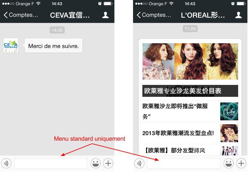 Captures d'écran des fils de chat Ceva et L'Oréal.