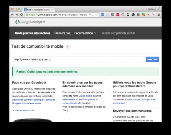 Le test Google « mobile friendly » sur notre nouveau site