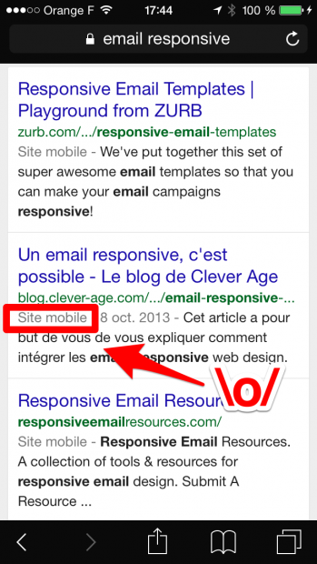 Mention « Site mobile » dans les résultats Google sur mobile