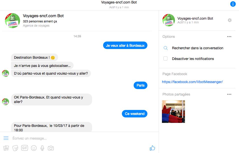Extrait chatbot SNCF