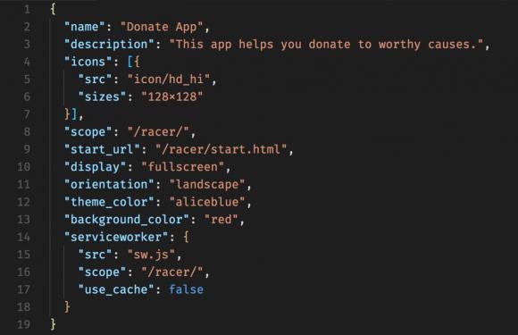 Exemple de Web App Manifest