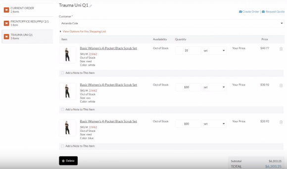 Listes d'achat B2B sous OroCommerce