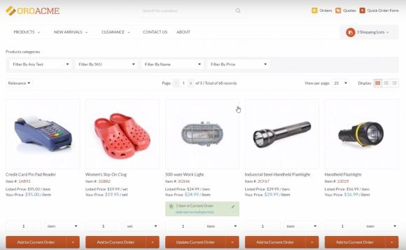 Listing produits sous OroCommerce