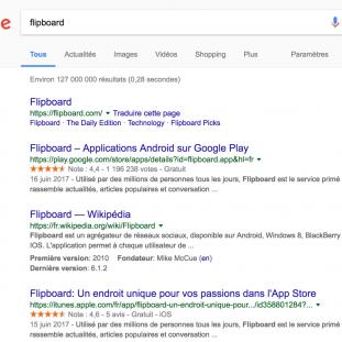 Recherche sur Google pour Flipboard