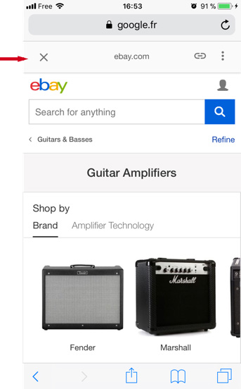AMP page: eBay category page with AMP banner