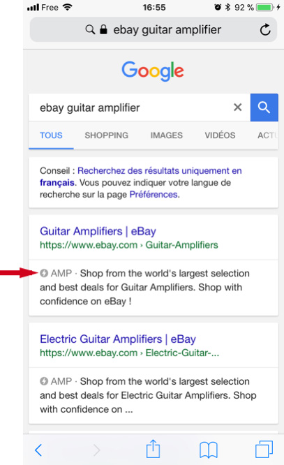 AMP page on Google: eBay category page