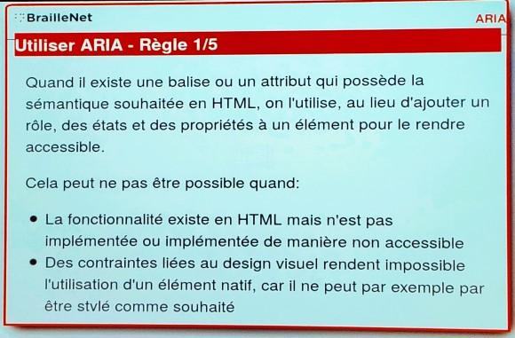 Slide de la conférence ARIA 1.1 : quoi neuf et quel est l'état du support par Alex Bernier, BrailleNet