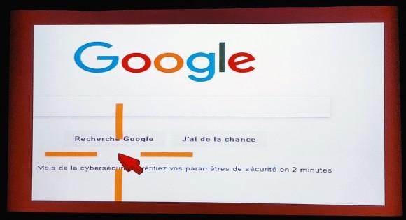 """Capture d'écran de la page Google avec un curseur placé en dessous du bouton """"Recherche Google"""""""