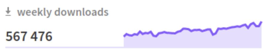 Graphique représentant les téléchargements mensuels de Vue.js avec le chiffre de 567 476